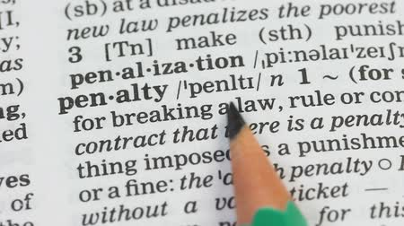 glossary : Penalty, pencil pointing word on vocabulary in english, punishment for crime