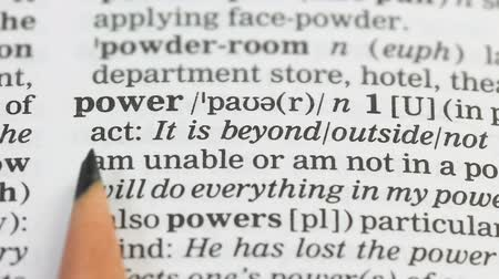 terminology : Power word in english dictionary, alternative energy sources, state government Stock Footage
