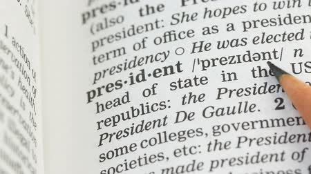 anlamı : President word definition in vocabulary, democratic republic leader, governor