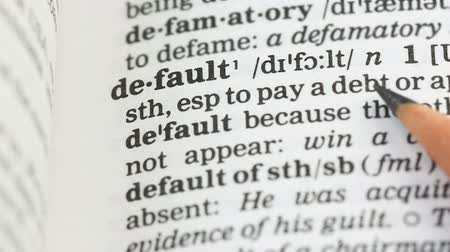 glossary : Default, word on vocabulary page in english, foreign language, investment risk