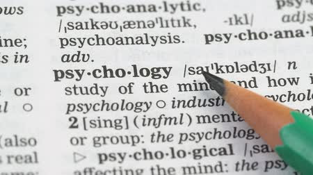 transcription : Psychology word in english dictionary, help and rehabilitation, medical studies Stock Footage