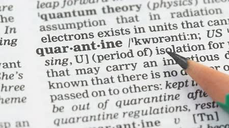 terminology : Quarantine meaning in dictionary, isolation of sick beings, epidemics prevention Stock Footage