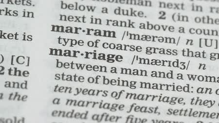 glossary : Marriage, word pointed in dictionary, agreement between couple, love and family