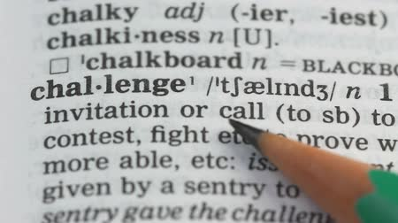 transcription : Challenge word in english vocabulary, checking personal qualities, leadership