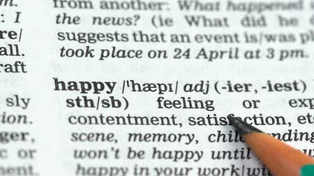 transcription : Happy word pointed in dictionary, positive state of mind, satisfaction with life