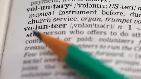terminology : Volunteer word in english vocabulary, person offering charge free help, altruist