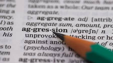 transcription : Aggression word in english vocabulary, hostile attitude, domestic misbehavior