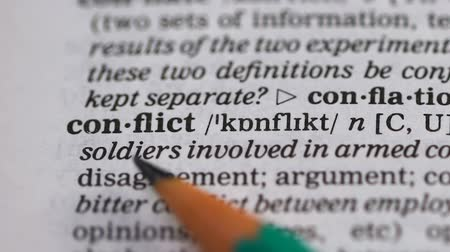transcription : Conflict word in english dictionary, disagreement in negotiations and interests