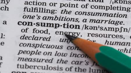 transcription : Consumption, pencil pointing word in dictionary, goods or energy usage, power