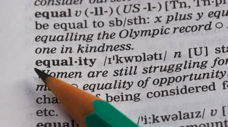 transcription : Equality word definition in dictionary, personal freedom in social life, respect