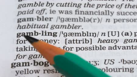 terminology : Gambling, word meaning in vocabulary, illegal business, playing in casino, risk