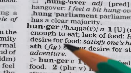 transcription : Hunger word in english vocabulary, global problem, lack of nutrition in region Stock Footage
