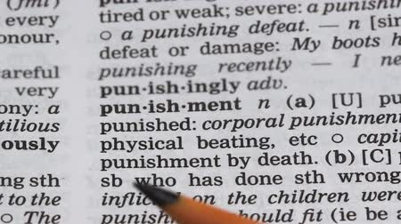 terminology : Punishment word in english dictionary, responsibility for illegal activity, fine Stock Footage