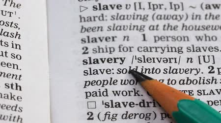transcription : Slavery meaning in english vocabulary, using people labor under threat, abuse