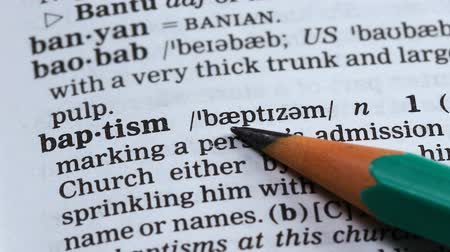 batismo : Baptism, pencil pointing word in dictionary, christian religion branch, faith