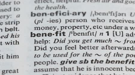 transcription : Benefit word definition on page in vocabulary, business interest and income