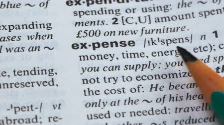 glossary : Expense word meaning written in dictionary, wasting resources and money