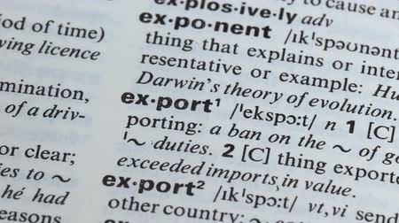 transcription : Export definition written in dictionary, process of international trade, economy Stock Footage
