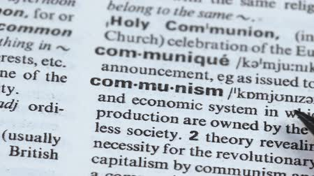 transcription : Communism definition pointed in vocabulary, political and economic system, state Stock Footage