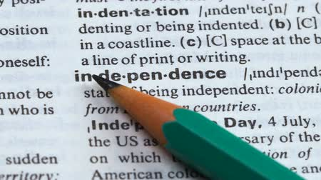 terminology : Independence definition in english dictionary, freedom of states or individuals Stock Footage