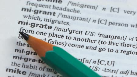 anlamı : Migrate, definition written in vocabulary, moving to another place, asylum labor