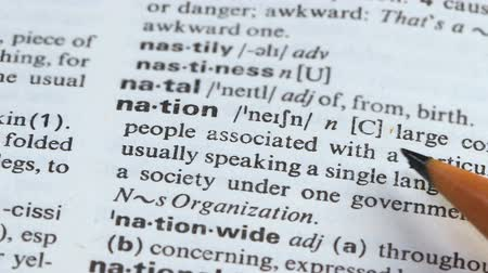 glossary : Nation, pencil pointing word meaning, group of people living together, society Stock Footage