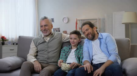 family watching tv : Joyful grandpa, father and son enjoying comedy show on tv, having fun together