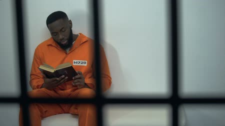 biblia : African-american prisoner reading holy bible, convicted sinner, religion Wideo