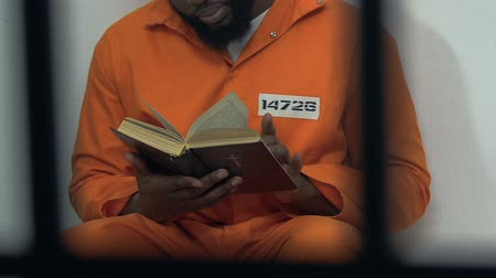 bible black : Black male prisoner reading holy bible in cell, hope for forgiveness, penance Stock Footage