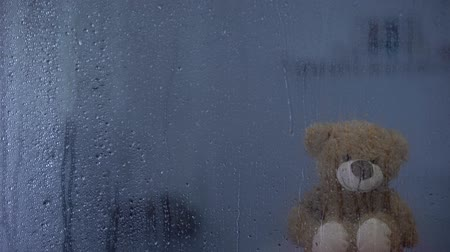 significado : Teddy bear on sill behind rainy window in orphanage, hope and support symbol