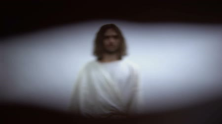 reanimation : POV of person dying and looking at Jesus in light, God welcoming man to heaven