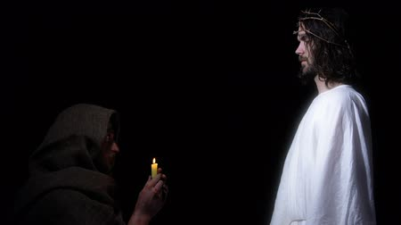 hacı : Jesus appears to poor old man praying with candle, salvation of righteous soul