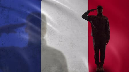 peacekeeping : French soldier silhouette saluting against national flag, national guard patriot