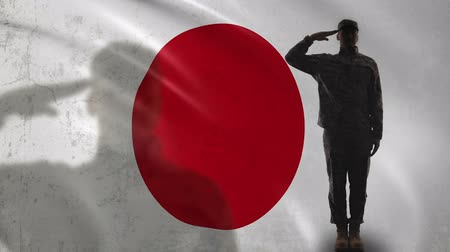 peacekeeping : Japanese soldier silhouette saluting against national flag, brave sergeant