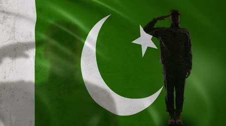 peacekeeping : Pakistani soldier silhouette saluting against national flag, army special forces