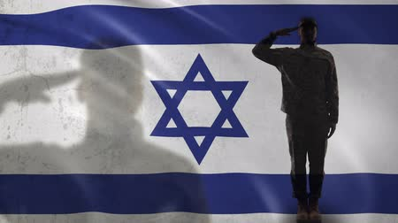 peacekeeping : Israeli soldier silhouette saluting against national flag, terrorism prevention