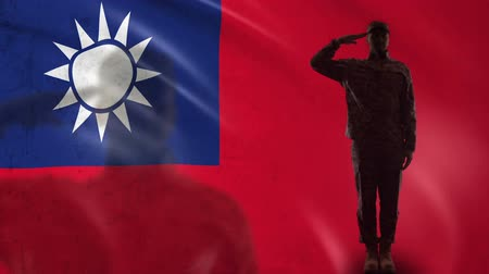 peacekeeping : Taiwanese soldier silhouette saluting against national flag, border forces