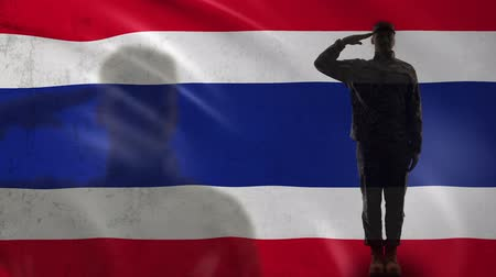 peacekeeping : Thai soldier silhouette saluting against national flag, war strategy, nation