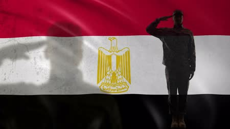 peacekeeping : Egyptian soldier silhouette saluting against national flag, country strength