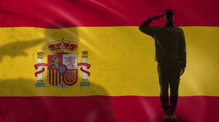 peacekeeping : Spanish soldier silhouette saluting against national flag, military respect