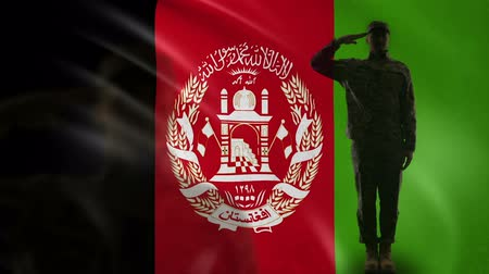 peacekeeping : Afghan soldier silhouette saluting against national flag, martial law, defense