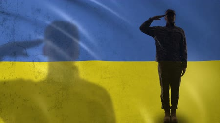 peacekeeping : Ukrainian soldier silhouette saluting against national flag, military reform