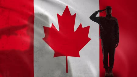 peacekeeping : Canadian soldier silhouette saluting against national flag, army sergeant reform Stock Footage