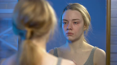 insecurities : Depressed young woman crying looking at mirror reflection, despair problems