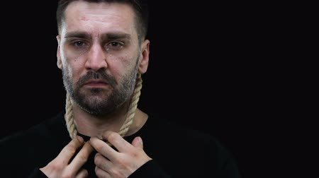 sinner : Jesus asking to stop crying man with noose around neck, suicide prevention