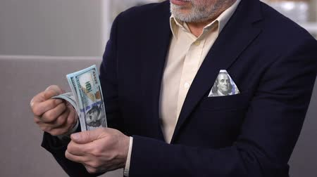łapówka : Rich wealthy man counting dollars, successful businessman, banking operations Wideo