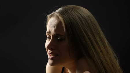 oppression : Lady suffering nervous breakdown, overcoming strong emotions and stress, anxiety