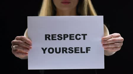 feminist : Confident woman holding respect yourself sign, acceptation of own personality