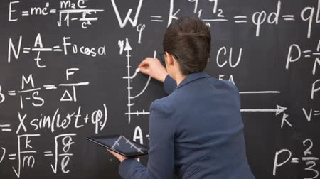 subject : Female teacher drawing graph on chalkboard and holding tablet, innovations