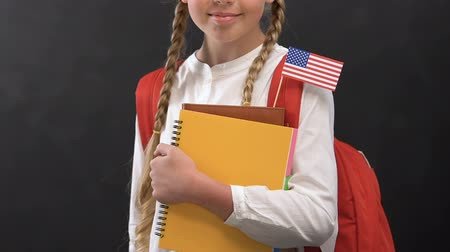 traductor : Nice girl with copy books and USA flag smiling at camera, language studying